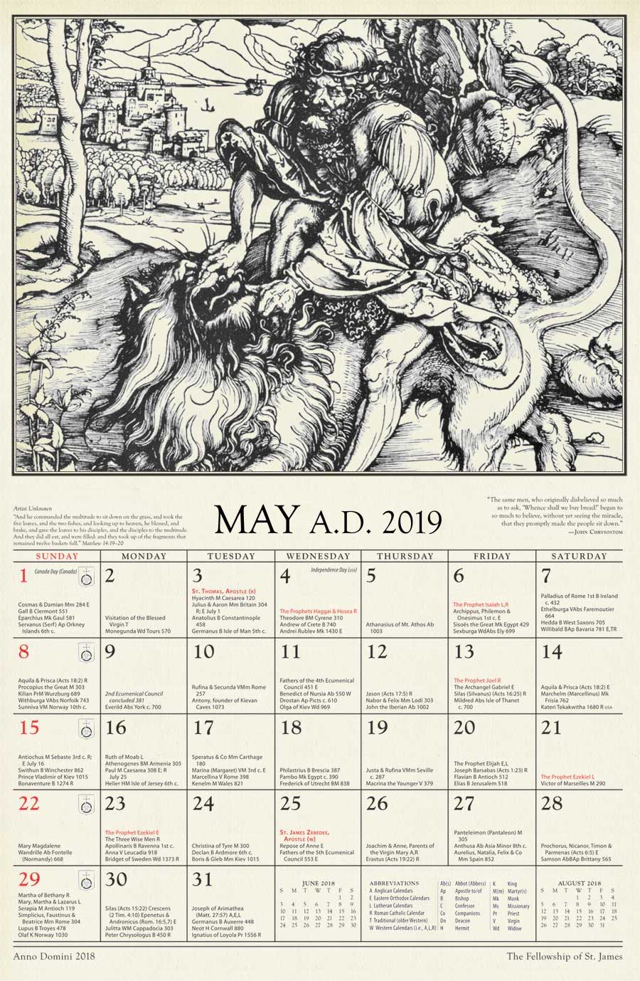 anno domini 2019 the st james calendar of the christian year is